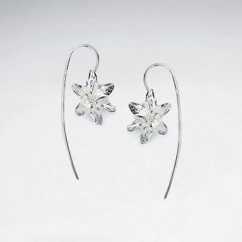 Polished Silver Long Hook Flower Dangle Earrings