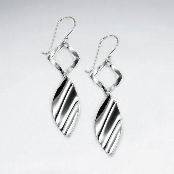 Polished Silver Modern Edge Organic Shape Double Tiered Dangle Hook Earrings