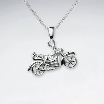 Polished Silver Motorcycle Pendant