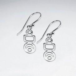 Polished Silver Open Geometric Design Dangle Earrings