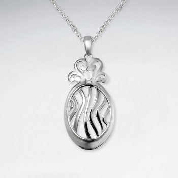 Polished Silver Open Pattern Curved Oval Pendant