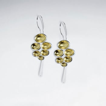 Polished Silver Organic Bubbled Shape Drop Hook Earrings
