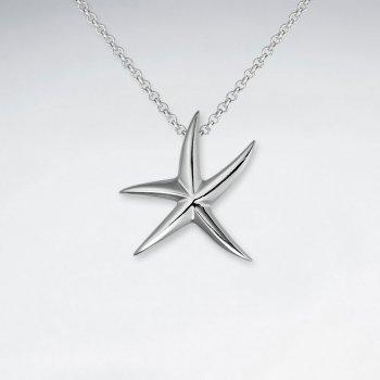 Polished Silver Petite Starfish Pendant