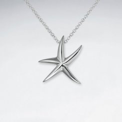 Polished Silver Petite Starfish Pendant
