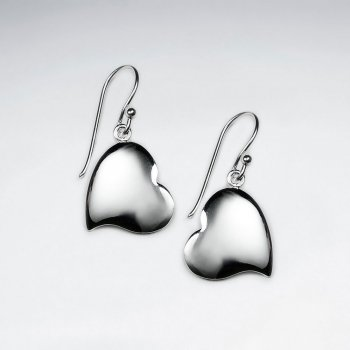 Polished Silver Smooth Heart Drop Earrings