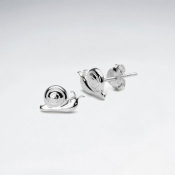 Polished Silver Snails Stud Earrings