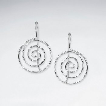 Polished Silver Swirl Circle Dangle Hook Earrings
