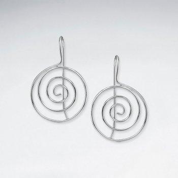 Polished Silver Swirl Circle Dangle Hook Earrings