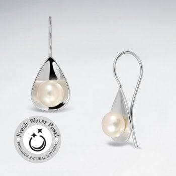 Polished Silver Teardrop With Pearl Dangle Earrings