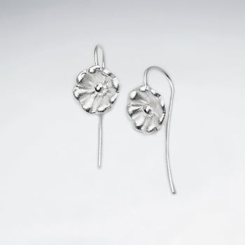 Polished Sterling Silver Dainty Flower Earrings