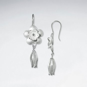 Polished Sterling Silver Flower Earrings with Delicate Dangle Drop
