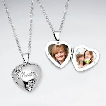 "Polished Sterling Silver ""Mum"" Pendant Locket"