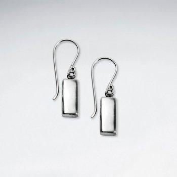 Polished Sterling Silver Rectangle Drop Hook Earrings
