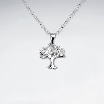 Polished Sterling Silver Seasons Tree Pendant