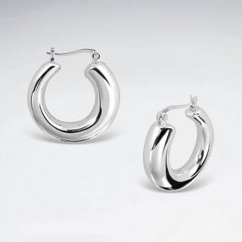 Posh Sterling Silver Huggie U Hoop Earrings