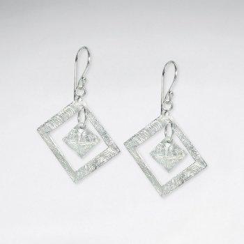 Posh Textured Sterling Silver Off Diamond Open Dangle Drop Hook Earrings