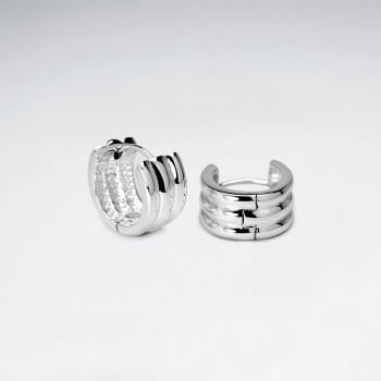 Posh Thick Huggie Hoop Earrings In Sterling Silver