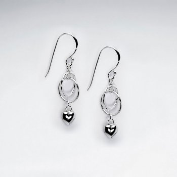 Precious Open Silver Wirework Oval Earrings with Dangle Accents
