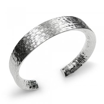 Precious Textured Sterling Silver Open Bangle