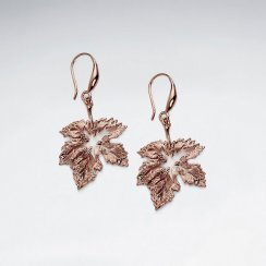 Silver Drop Leaf Inspired Hook Earrings