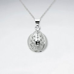 Silver Egg Shaped Open Filigree Pendant