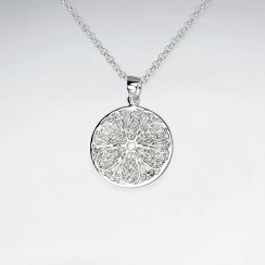 21 mm Round Cut Filigree Pattern Dangle Silver Pendant
