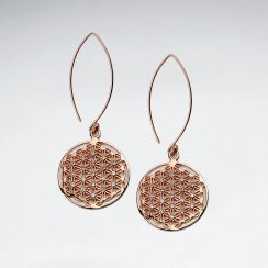 21 mm 18 K Flash Pink Gold Plated Flower of Life Silver Disk Earring With White CZ