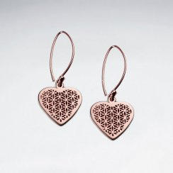 Heart Shape Flower of Life Silver Dangling Earring
