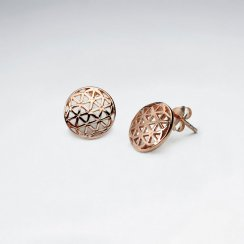 11 mm Flower of Life Silver Stud Earring