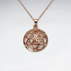 18 K Flash Pink Gold Plated 18 mm Dome Flower of Life Silver Pendant With White CZ