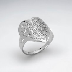Heart Shape Flower of Life Silver Ring