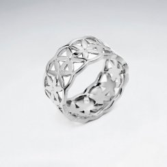 Flower of Life Silver Wedding Ring