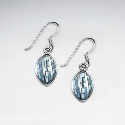 Blue Shell Marquise Dangling Silver Earring