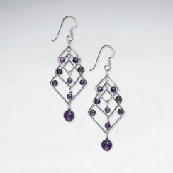 Layered Rhombus Amethyst Silver Dangling Silver Earring