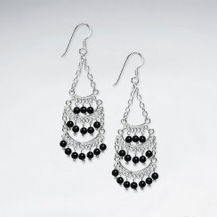 Chandelier Silver Earring With Small Round Amethyst
