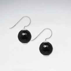 14 mm Round Faceted Black Stone Dangling Silver Earring
