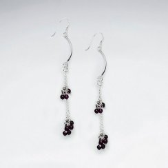 Red Glass Bead Cascade Earring With Silver Tube