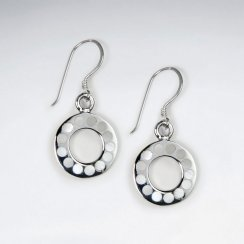 Open Circle Silver Earring With Black Stone Dot
