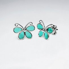 Butterfly Silver Earring With White Enamel