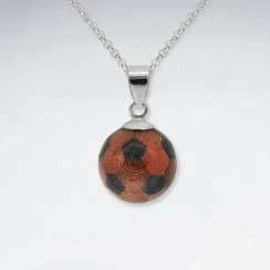 Sand Stone And Black Stone Football Silver Pendant