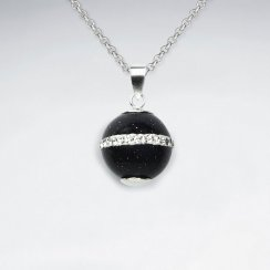 14 mm Black Stone Round Silver Pendant With White CZ Stripe