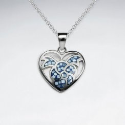 Blue Shell Heart Shape With Flower Silver Pendant
