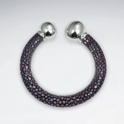 Purple Round Stingray Bangle With Silver End Ball