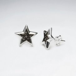 White Star Stingray Silver Stud Earring