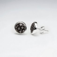 Black Round 10mm Stingray Silver Stud Earring