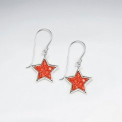 Pink Star Stingray Dangling Silver Earring
