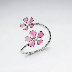 Duel Flowers Wrap Ring in Enamel and Sterling Silver