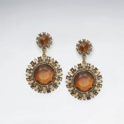 Bold Elegance Brass Sunburst Mixed Color Crystal Earrings