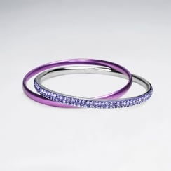 Stainless Steel Crystal Stackable Bangle Bracelets