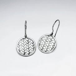 Round Disc Silver Cobblestone Textured Drop Hook Earrings